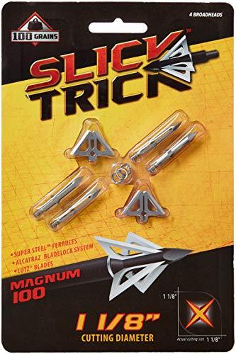 (Slick Trick Magnum 100 GR Broadhead (Pack of 4), 1-1/8