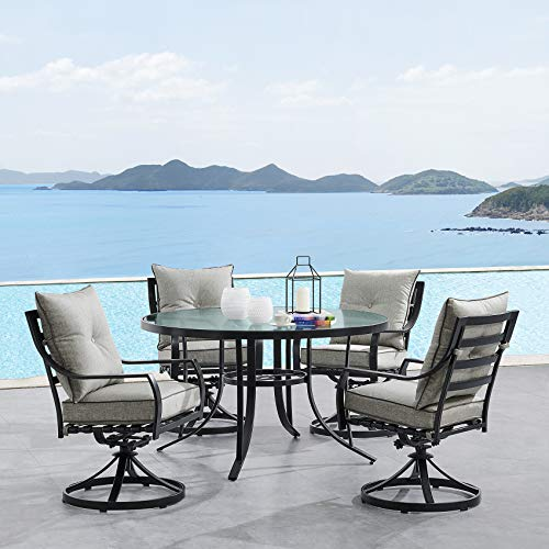 Hanover LAVDN5PCSWRD-SLV Lavallette 5-Piece Silver Linings with 4 Swivel Rockers and a 52-in. Round Glass-Top Table Outdoor Dining Set