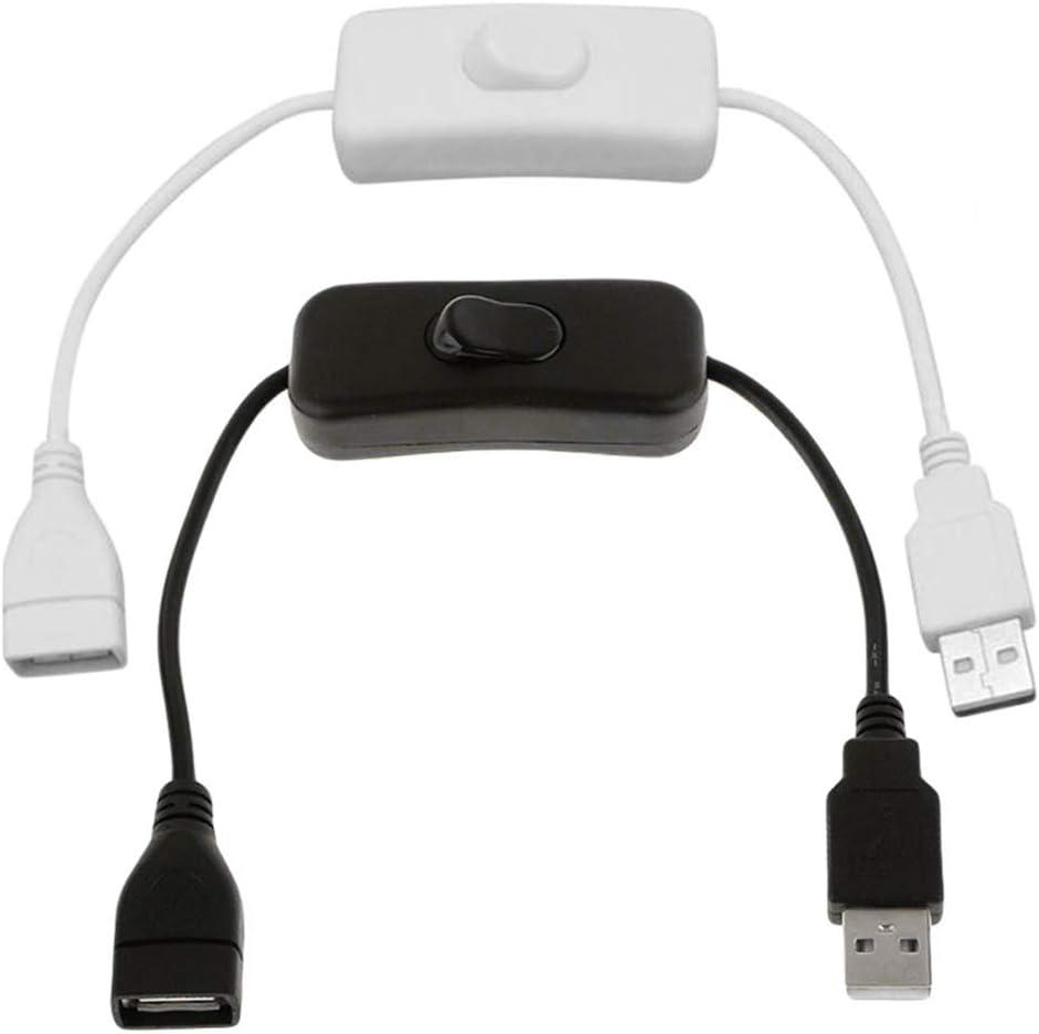 Desconocido Cable USB de 30 cm con Interruptor ON/Off Cable Extensión Toggle para lámpara USB Ventilador Línea de alimentación Adaptador Duradero
