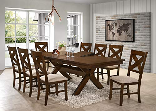 Roundhill Furniture Karven 9-Piece Solid Wood Dining Set with Table and 8 Chairs by Roundhill Furniture (Image #1)