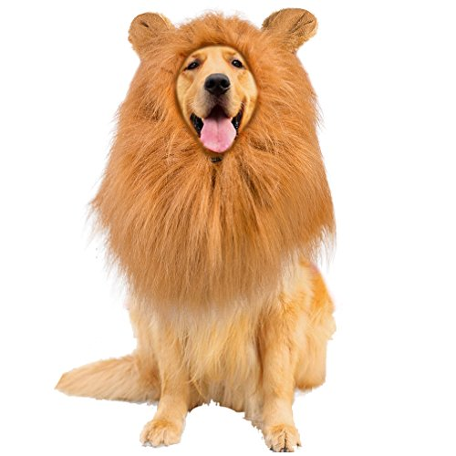 Lion Mane Dog Costume with Ears Pet Lion Mane Wig for Large Medium Dogs Hair Holloween Christmas Festival Party Fancy Dress Up Clothes Costume, Make Your Dog Lion King