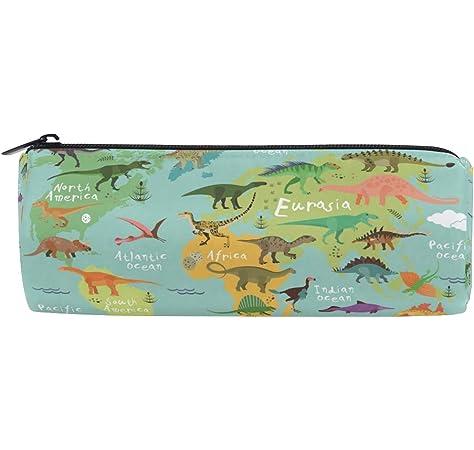 Ahomy - Estuche con cremallera para lápices, diseño de mapa del mundo de dinosaurios, para adolescentes y niños, bolsa de maquillaje de viaje para mujeres: Amazon.es: Oficina y papelería