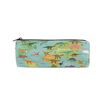 Ahomy - Estuche con cremallera para lápices, diseño de mapa del mundo de dinosaurios, para adolescentes y niños, bolsa de maquillaje de viaje para ...