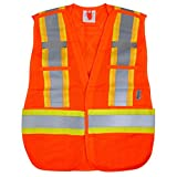 Viking 6115O Open Road 5 Point Tear Away Safety-Vest-Vibrance 4-Inch Safety-Stripes-Polyester Mesh, 4 Pockets, D-Ring Access, Fits All, Fluorescent Orange
