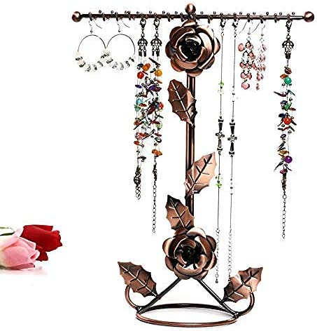 PUTTL Jewellery Stand, Rose Flowers Jewellery Holder Display Stand Double Jewellery Holder for Rings, Earrings, Bracelets, Watches and Accessories