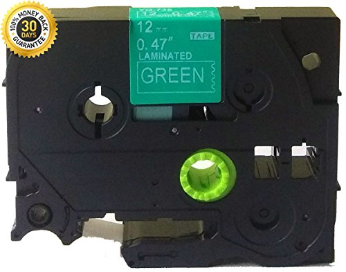 "White on Green Label Tape Compatible for Brother TZ TZe 135 TZ-735 TZe-735 12mm P-Touch 8m 0.47""x26.2'"