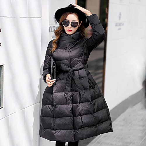 Pendulum Long Down Belt Jacket Collar Loose Color Solid DYF Black Coat M Sleeve w0xBUXHd