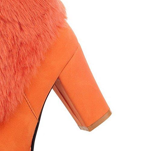 Allhqfashion Women's High-Heels Soft Material Low-top Solid Zipper Boots Orange kxthE