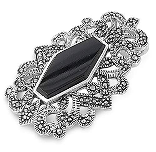 - Pendant Black Simulated Onyx Simulated Marcasite .925 Sterling Silver Charm - Silver Jewelry Accessories Key Chain Bracelet Necklace Pendants