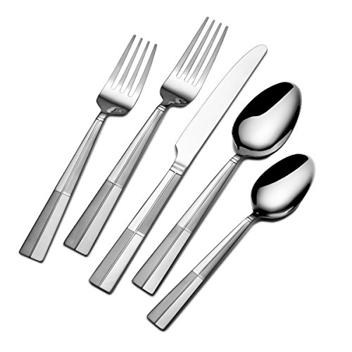 (Pfaltzgraff 5131465 Arabesque Frost 45-Piece Stainless Steel Flatware Set with Serving Utensil Set and Metal Storage Caddy, Service for 8)