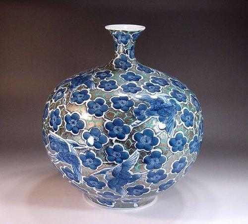 有田焼伊万里焼|花瓶陶器花器壺|贈答品|高級ギフト|贈り物|記念品|鷺梅文様藤井錦彩 B00HITSJQS
