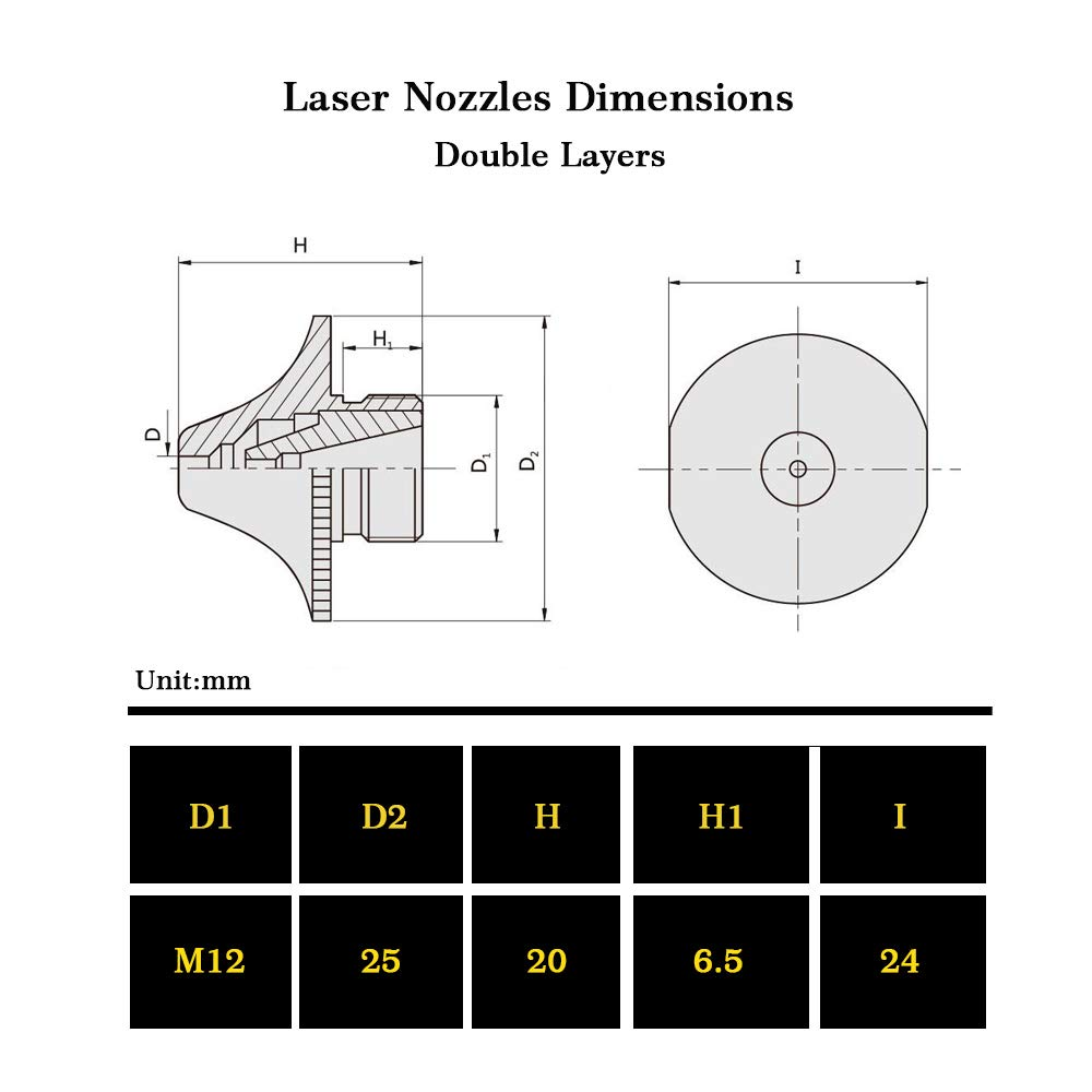 4PCs//Pack Laser Nozzles Replacements Caliber 0.8mm to 3.0mm for Amada Laser Double Layers Caliber:1.0