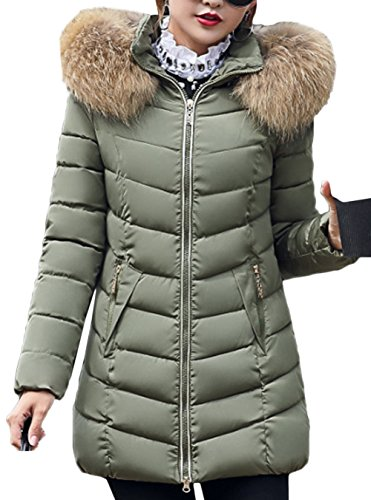 Ladies Autumn Invierno señoras Chaqueta Coat Capucha Parka Jacket Acolchada Green sintética Warm Winter con Winter Piel Capucha Scothen Larga de Capucha Las Parka Chaqueta PXEqw
