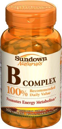 Sundown Naturals Vitamin B Complex, 100 Tablets (Pack of 6)