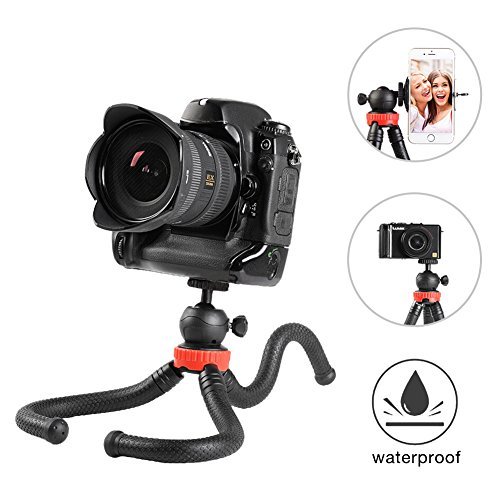 (Camera/Phone Tripod,Zyan 12 Inch Flexible Camera Tripod For GoPro/Canon/Nikon/Sony DSLR Cam/Gopro Action Cam, Phone Tripod Stand with Cell Phone Holder Clip For iPhone/Android Phone(3 in 1))