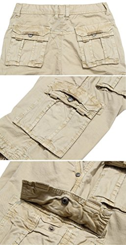 WenVen Men's Active Cargo Shorts Cotton Outdoor Wear Lightweight (WV3229 Light Khaki,36)