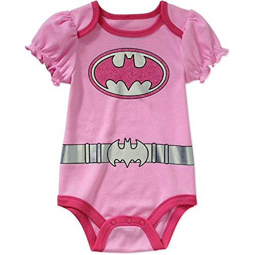 [DC Comics Batgirl Logo Baby Girls Bodysuit One Piece Dress Up Outfit Pink (6-9 Months)] (Baby Batgirl Outfit)