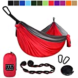 Gold Armour Camping Hammock - USA Brand Single Parachute Hammock (2 Tree Straps 16 Loops/10 ft Included) Lightweight Nylon Portable Adult Kids Hammock, Best Camping Accessories Gear (Red/Gray)