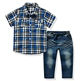 Image of Ferenyi US Kids Clothing Boys Casual Short Sleeved Plaid Shirt and Denim Jeans Sets (6T, Bule)