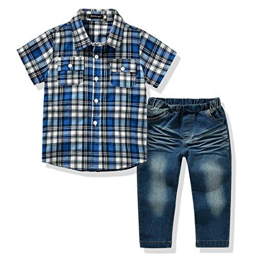 Plaid Kids Clothing (Ferenyi US Kids Clothing Boys Casual Short Sleeved Plaid Shirt and Denim Jeans Sets (6T,)