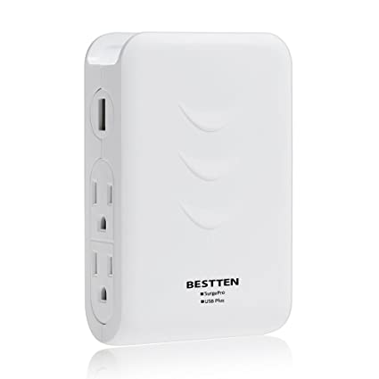 bestten side wall tap outlet adapter surge protector with 2 usb rh amazon com
