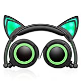 Headphones Cat Ear Foldable Over-the-Head Cartoon PC Phone MP3 General Sports Music headset Wired Earphone with LED Glowing Lights (Green)