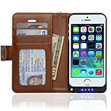Navor iPhone 5 Folio Wallet Leather Protective Travel Battery Case 2200mAh -Brown (IP5BTCBR)