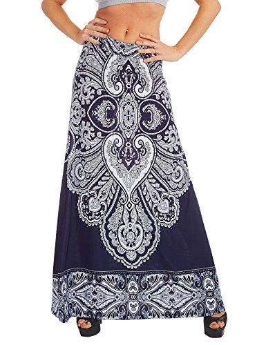 LL WB1207 Womens Printed Fold Over Maxi Skirt XXXL NAVY