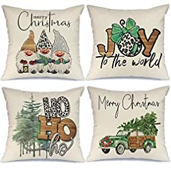Christmas Farmhouse Home Decor AENEY Christmas Decorations Pillow Covers 18×18 Set of 4, Joy Gnome Truck Christmas Tree Rustic Winter Holiday Throw… farmhouse christmas pillow covers
