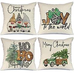 Christmas Farmhouse Home Decor AENEY Christmas Pillow Covers 18×18 Set of 4, Joy Gnome Truck Christmas Tree Rustic Winter Holiday Throw Pillows… farmhouse christmas pillow covers