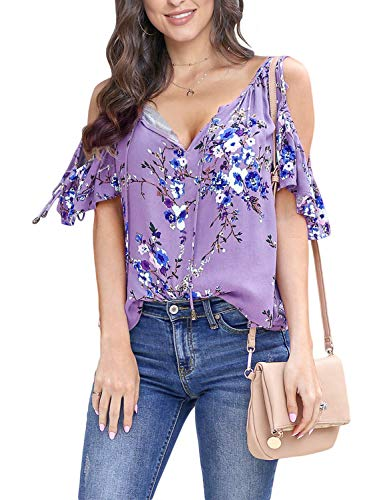 Asvivid Womens Cold Shoulder Shirt Ruffle Short Sleeve Summer T-Shirt Floral Printed V Neck Loose Blouses Tops S Purple