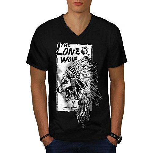 The Lone Wolf Indian Wild Pack Men NEW M V-Neck T-shirt | (Predator Costume Feet)