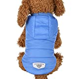 HCFKJ Pet Costume Dog Vest Coat Hoodie, Winter Warm Padded Thickening Puppy Jacket (L, Blue)