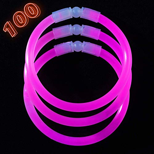 Pink Glow Bracelets (Glow Sticks Bulk Party Supplies - 100 Light Stick Bracelets - Extra Bright Glow In The Dark Party Favors - 8 Inch Bracelet Strong 6mm Thick - 9 Vibrant Neon)