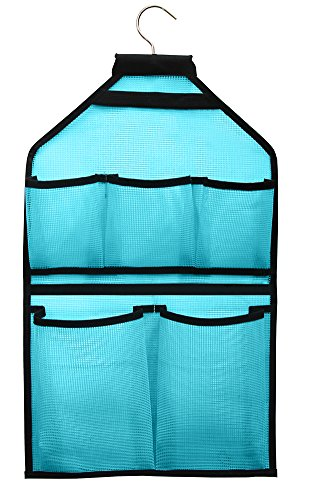 MISSLO Mesh Bathroom Shower Organizer with Rotatable Hanger (Blue)