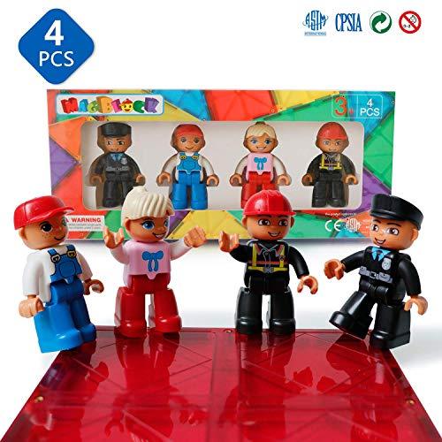 Magblock MagneticFigures 4 Pieces Set CompatiblewithMagneticTiles-MagneticBlocks-Magnet Toys forKidsToddlers Gift Toys