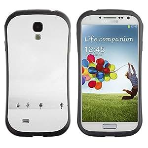 Suave TPU Caso Carcasa de Caucho Funda para Samsung Galaxy S4 I9500 / Winter White Trees Minimalist Cold / STRONG
