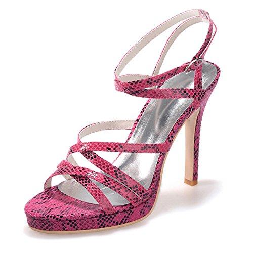 Clearbridal Women's Snakeskin Pattern Open Toe Sandals Heels Fashion Shoes ZXF5915-04 Purple bAWvccK