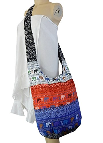 Cotton Ethnic Patchwork Hobo Colori Borsa Borsa Pw2 Elephant Parade tracolla Hippie Sling Thai a BTP Messenger casuali 5BTO6v6