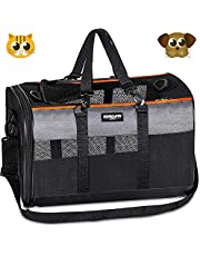 Soft-Sided Pet Travel Carrier,Airline Approved Pet Carriers for Medium Big Dog and Cat,Collapsible Cat Carrier Dog Carrier Bag.(Black&Gray)