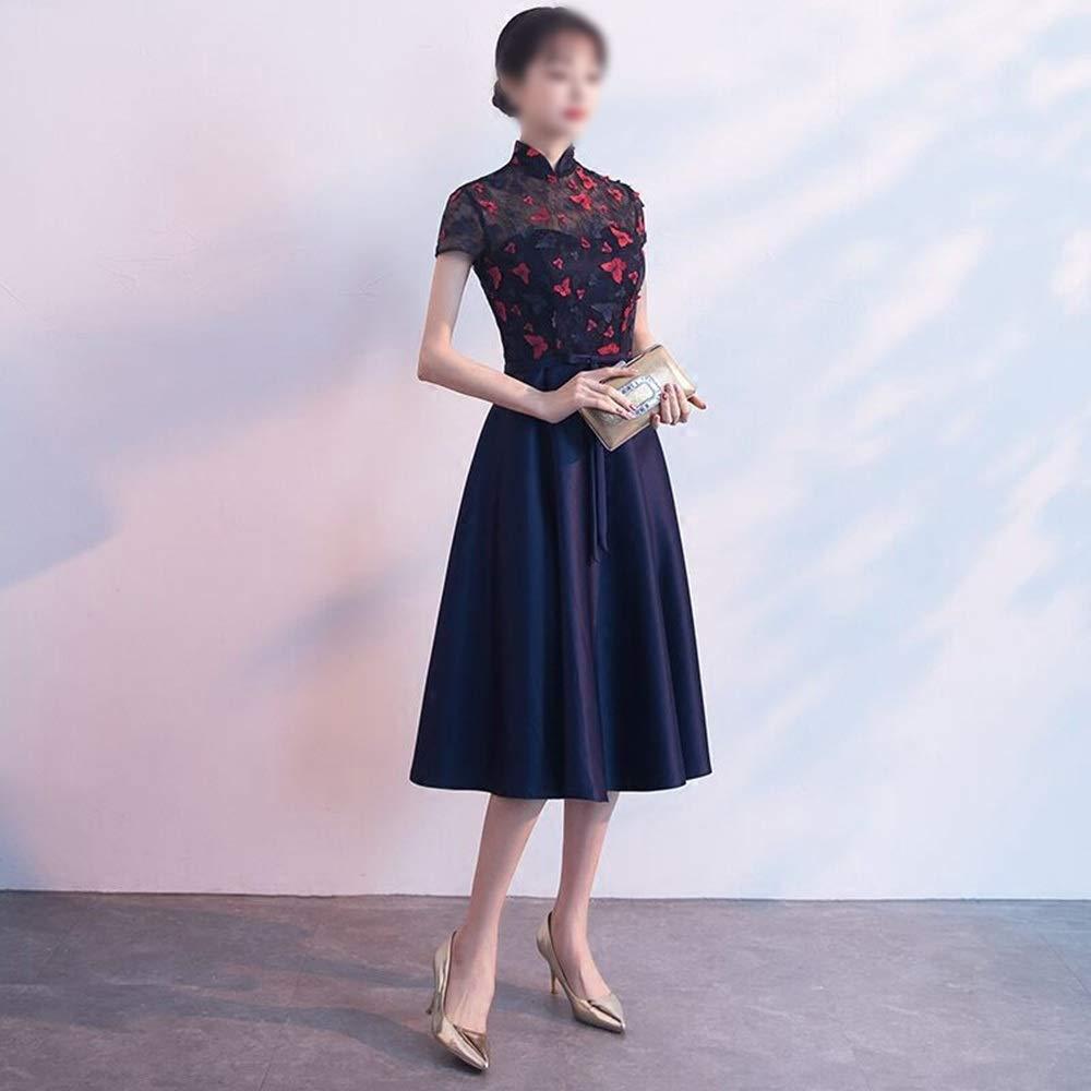Dark bluee Sugoishop Womens Cheongsam Collar Lace Embroidery Flowers Sleeveless Evening Dress,Formal Dress (color   Dark bluee, Size   XXL)