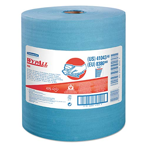 WypAll 41043 X80 Cloths with HYDROKNIT, Jumbo Roll, 12 1/2 x 13 2/5, Blue, ()