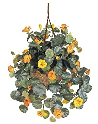 Nearly Natural 6025 Nasturtium Silk Hanging Basket, Multicolored