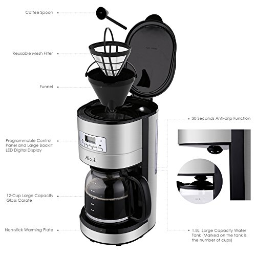 Aicok 12 Cup Coffee Maker, Drip Coffee Makers, Programmable Coffee Maker with Timer and Reusable ...