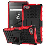 Sony Xperia Z5 Compact Case - MoKo Heavy Duty Rugged Dual Layer Armor with Kickstand Protective Cover for Sony Xperia Z5 Compact 4.6 Inch Smartphone 2015 Edition, RED