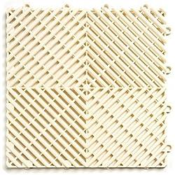 RaceDeck Free-Flow Open Rib Design, Durable Interlocking Modular Garage Flooring Tile (24 Pack), White