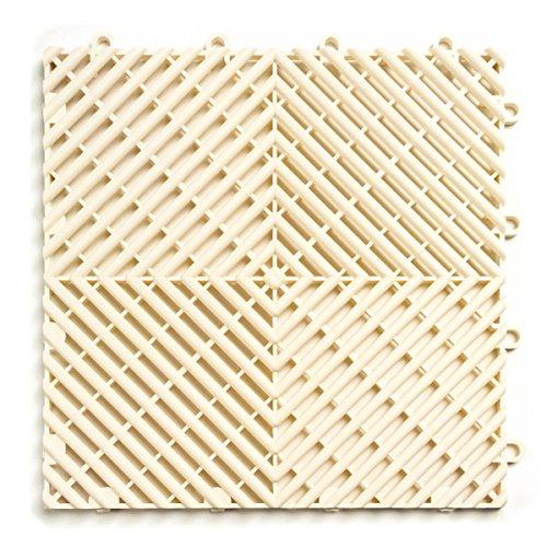 RaceDeck Free-Flow Open Rib Design, Durable Interlocking Modular Garage Flooring Tile (12 Pack), White