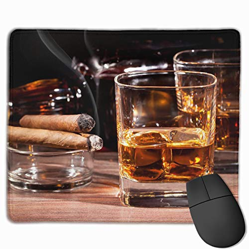 Price comparison product image Non-Slip Rubber Base Mousepad for Laptop Computer PC Personality Desings Gaming Mouse Pad Mat (Colored Whisky in Cup, 11.81 X 9.84 Inch)
