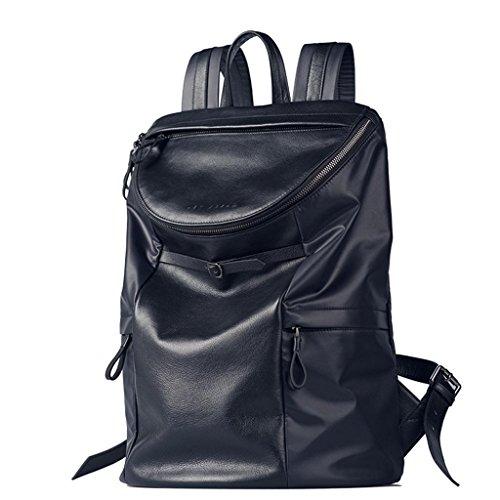 Mode décontractée deux sacs d'épaule hommes sac en Nylon avec sac en cuir sac à dos portable