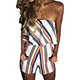 Women Off Shoulder Rompers Summer Strapless Ruffles Striped Boho Beach Bandeau Playsuit Jumpsuits Shorts with Pockets